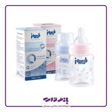 شیشه شیر پیرکس کاهش دهنده نفخ فیروز سری Pyrex Feeding Bottle مدل Anti – Colic System در دو رنگ متنوع حجم ۱۵۰ میلی لیتر